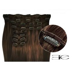 Extensions de cheveux à clips synthétiques Chatain extra volume 50 cm en vente sur elite-extensions.fr