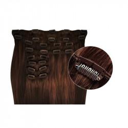 Extensions de cheveux à clips synthétiques chocolat extra volume 50 cm