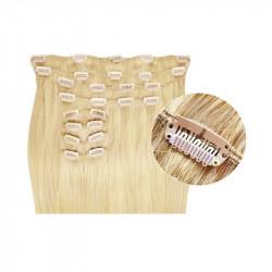 Extensions de cheveux à clips synthétiques blond clair extra volume 50 cm