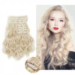 Extension cheveux à clips naturelle volume luxe 180 gr  Blond platine 613 bouclée 63 cm en vente sur elite-extensions.fr