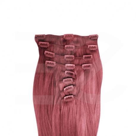 Extensions cheveux roses 100% naturels à clips 53 cm