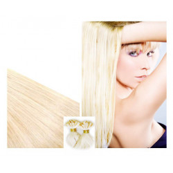 Extensions à chaud blond platine cheveux raides 50 cm