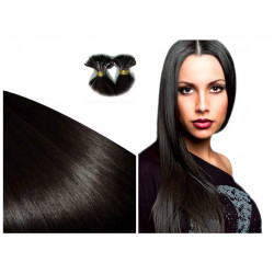 Extensions à chaud brunes cheveux raides 63 cm 1 Gr