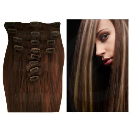 Extensions n°4.613 (Chocolat Méché Blond clair) cheveux 100% naturels à clips 53 cm