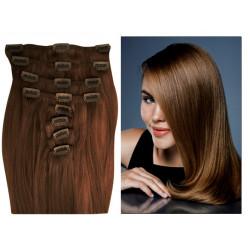 Extensions n°6 (chatain) cheveux 100% naturels à clips 55 cm