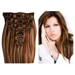 Extensions n°P8.22 (châtain méché blond) cheveux 100% naturels à clips 53 cm