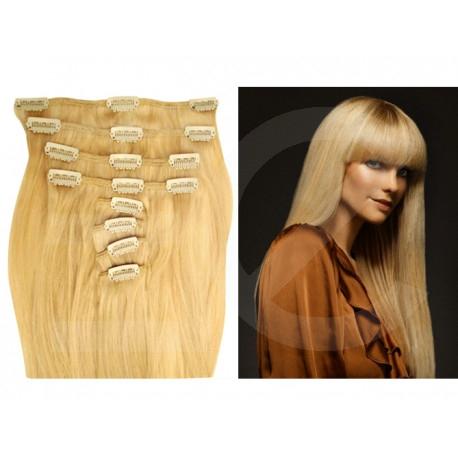 Extensions n°22 (Blond) cheveux 100% naturels à clips 55 cm
