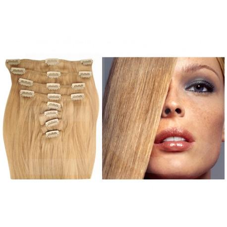 Extensions n°24 (Blond cendré) cheveux 100% naturels à clips 55 cm