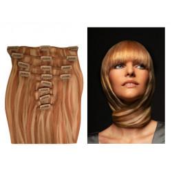 Extensions à clips blond doré méché blond clair cheveux raides 53 cm