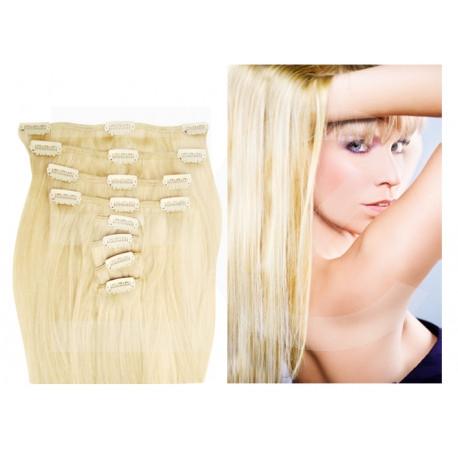 Extensions n°613B (Blond platine) cheveux 100% naturels à clips 53 cm