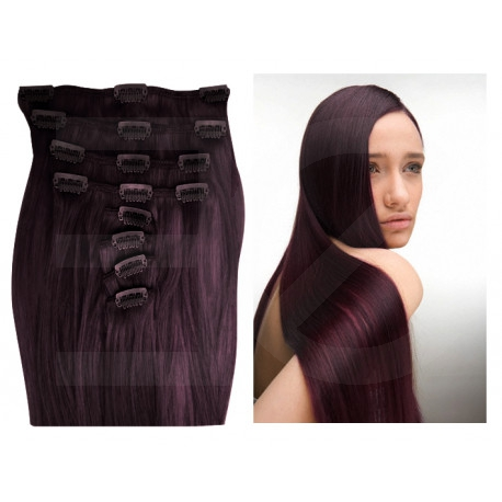 Extensions n°99J (prune) cheveux 100% naturels à clips 53 cm