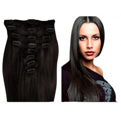 Extensions à clips brunes cheveux raides 63 cm