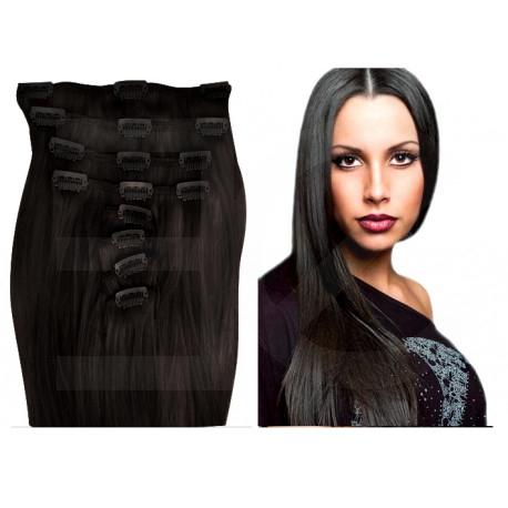Extensions n°1B (Brun) cheveux 100% naturels à clips 63 cm