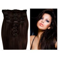 Extensions n°2 (chatain foncé) cheveux 100% naturels à clips 55 cm