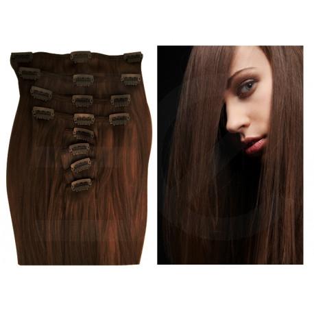 Extensions n°4 (chocolat) cheveux 100% naturels à clips 55 cm