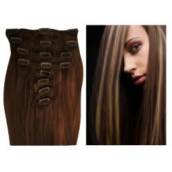 Extensions n°4.613 (chocolat méché blond clair) cheveux 100% naturels à clips 63 cm