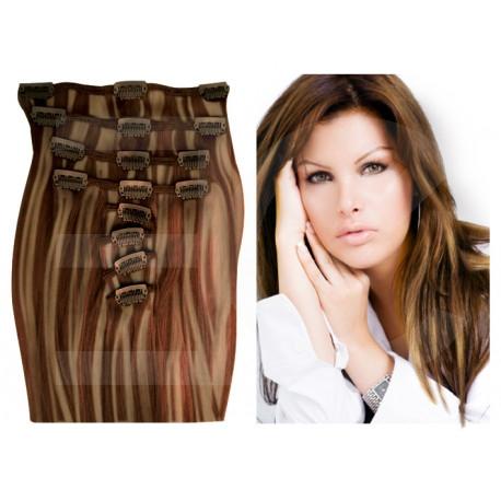 Extensions n°P8.22 (CHÂTAIN MÉCHÉ BLOND) cheveux 100% naturels à clips 63 cm
