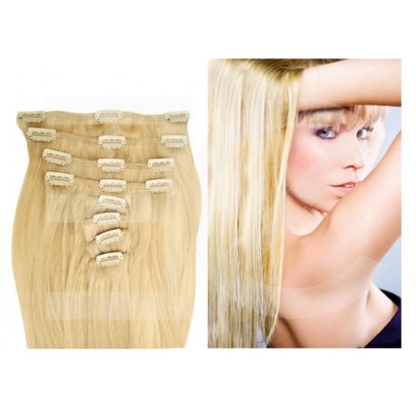 Extensions n°613 (Blond clair) cheveux 100% naturels à clips 55 cm