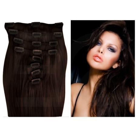 Extension à clip naturel n°2 (chatain foncé) cheveux raides 73 cm