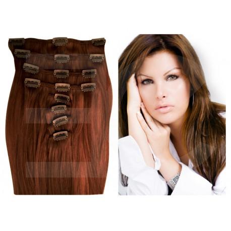 Extension à clip naturel n°8 (châtain) cheveux raides 73 cm