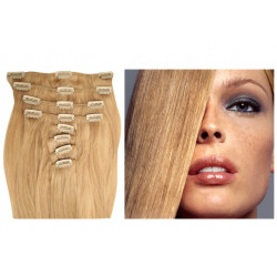 Extension à clip naturel n°24 (blond cendré) cheveux raides 73 cm