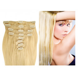 Extension à clip naturel n°613 (blond clair) cheveux raides 73 cm