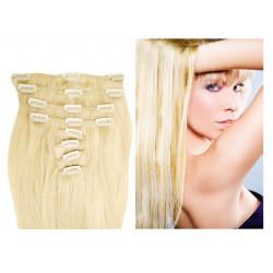 Extensions à clips blond platine cheveux raides 73 cm