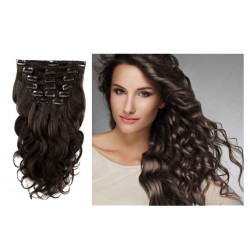 Extensions n°1B (Brun) cheveux ondulés 100% naturels à clips 53 cm