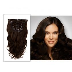 Extensions n°2 (CHATAIN FONCÉ) cheveux 100% naturels à clips 53 cm