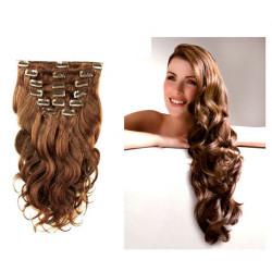 Extensions n°8 (chatain) cheveux ondulés 100% naturels à clips 63 cm