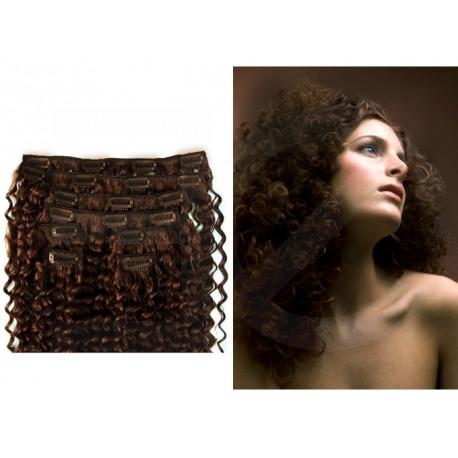 Extensions n°4 (CHOCOLAT) cheveux 100% naturels à clips 53 cm