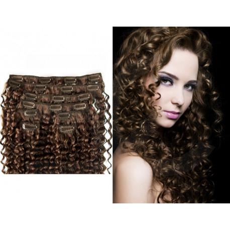 Extensions n°6 (chatain) cheveux frisés 100% naturels à clips 53 cm