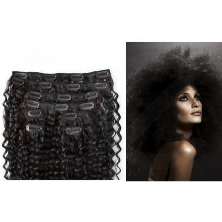 Extensions n°1 (noir) cheveux 100% naturels à clips 63 cm frisé
