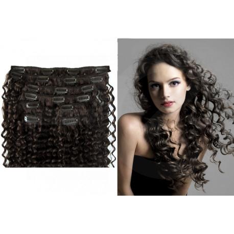 Extensions n°1B (brun) cheveux 100% naturels à clips 63 cm frisé