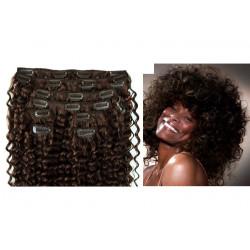 Extensions n°2 (Châtain foncé) cheveux 100% naturels à clips 63 cm frisé