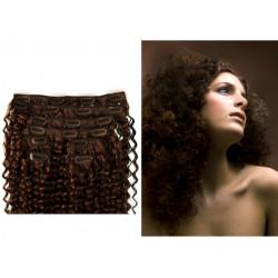 Extensions n°4 (Chocolat) cheveux 100% naturels à clips 63 cm frisé