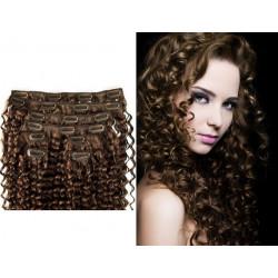 Extensions n°6 (chatain) cheveux 100% naturels à clips 63 cm frisé