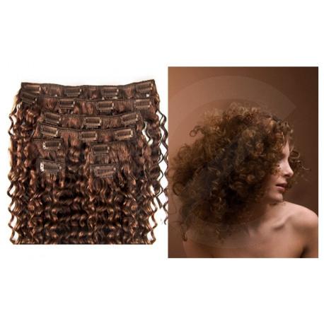 Extensions n°8 (chatain) cheveux 100% naturels à clips 63 cm frisé