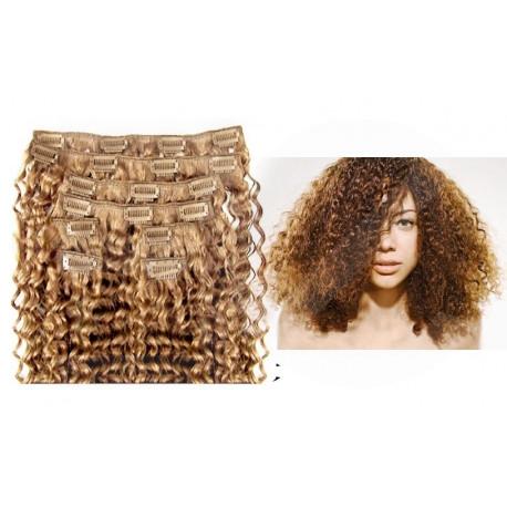 Extensions n°14 (Blond doré) cheveux 100% naturels à clips 63 cm frisé
