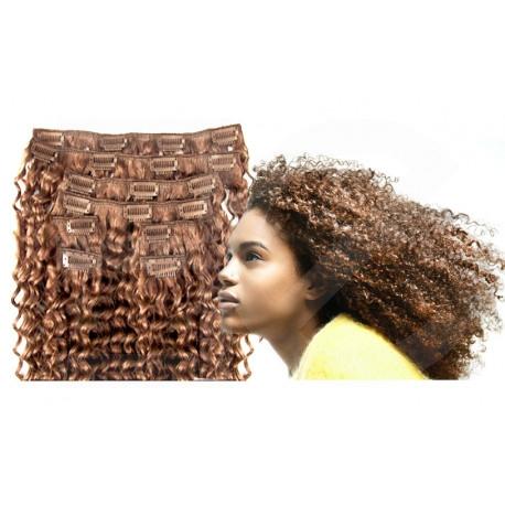 Extensions n°12 ( châtain clair) cheveux 100% naturels à clips 63 cm frisé