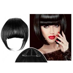 Frange à clips N1 noir cheveux 100 % naturels