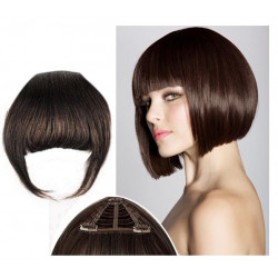 Frange à clips N2 Châtain foncé , cheveux 100 % naturels