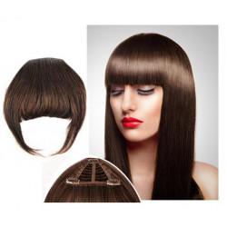 Frange à clips N4 Chocolat , cheveux 100 % naturels