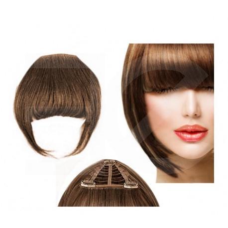 Frange à clips N8 chatain cheveux 100 % naturels