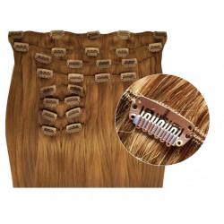Extensions à clips cheveux synthétiques blond doré extra volume 63 cm