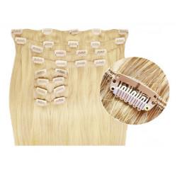 Extensions à clips cheveux synthétiques blond clair extra volume 63 cm
