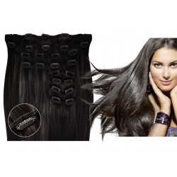 Kit extensions de cheveux à clips naturel brun 1B luxe 100% volume 180 Gr. 53 cm