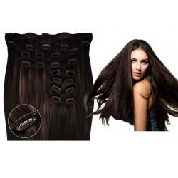 Kit extension de cheveux à clips naturel Châtain foncé (2) luxe 100% volume 180 Gr. 53 cm