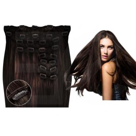 Extensions à clips châtain foncé volume luxe 180 Gr. Cheveux raides 53 cm