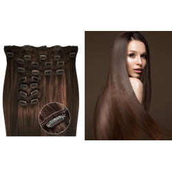 Kit extensions de cheveux à clips naturel chatain 6 luxe 100% volume 180 Gr. 53 cm